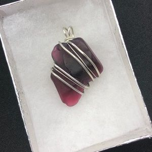 Purple and Red Hand Wrapped Sea Glass Pendant